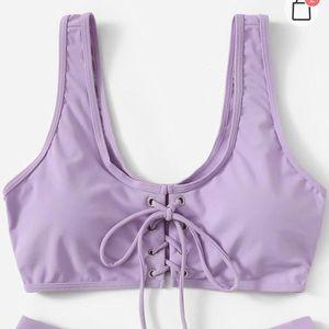 Lavender lace up bikini top